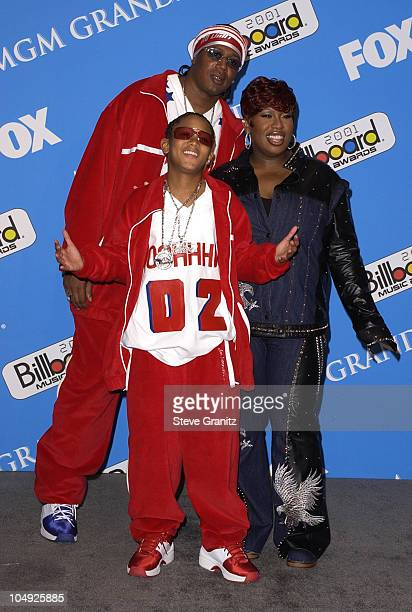 Lil' Romeo Master P Missy Elliot pose backstage with his award for Rap Artist of the Year at the 2001 Billboard Music Awards at the MGM Grand Hotel...