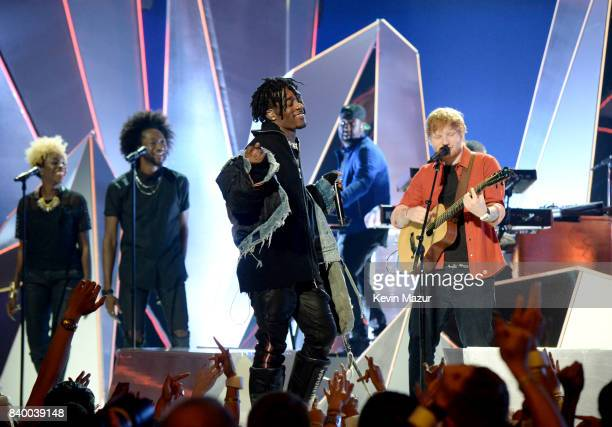 Lil Uzi Vert and Ed Sheeran perform during the 2017 MTV Video Music Awards at The Forum on August 27 2017 in Inglewood California