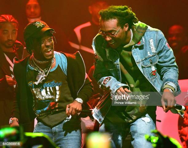 Lil Uzi Vert and Takeoff perform at the Migos In Concert at Center Stage on January 28 2017 in Atlanta Georgia