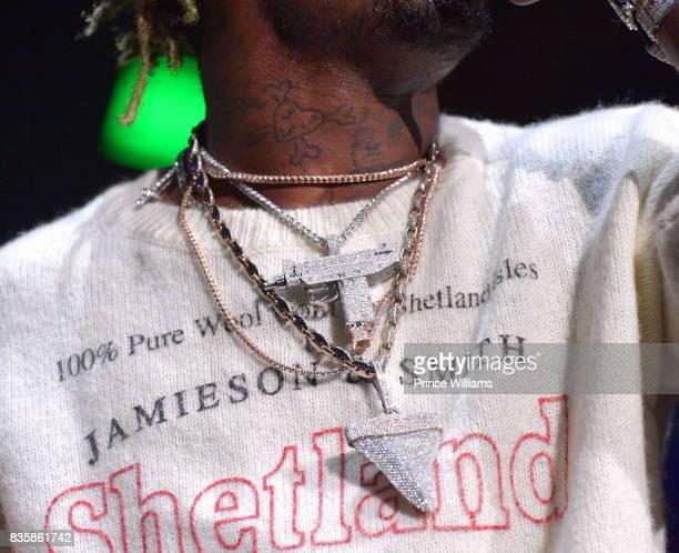 Lil Uzi Vert Necklace Detail Performs at Streetz Fest 2K17 at Lakewood Amphitheatre on August 19 2017 in Atlanta Georgia
