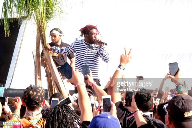 Lil Uzi Vert performs in the Sahara Tent during day 3 of the 2017 Coachella Valley Music Arts Festival at the Empire Polo Club on April 23 2017 in...