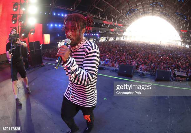Lil Uzi Vert performs on the Sahara Stage during day 3 of the 2017 Coachella Valley Music Arts Festival at the Empire Polo Club on April 23 2017 in...