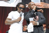 Lil Wayne and Birdman onstage at the 2013 BMI RB/HipHop Awards at Hammerstein Ballroom on August 22 2013 in New York City