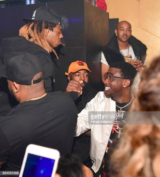 Lil Wayne and Gucci Mane attend a Super bowl Party at Mercy Night Club on February 5 2017 in Houston Texas