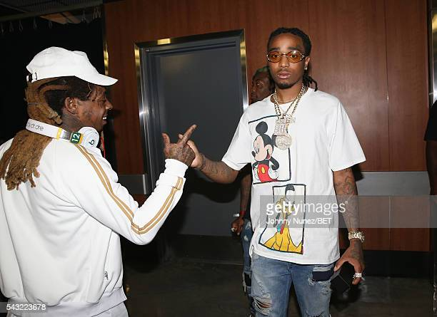 Lil Wayne and Quavo of Migos attend the 2016 BET Experience Staples Center Concert Presented by Sprite Performances by LIL WAYNE 2 CHAINZ TORY LANEZ...