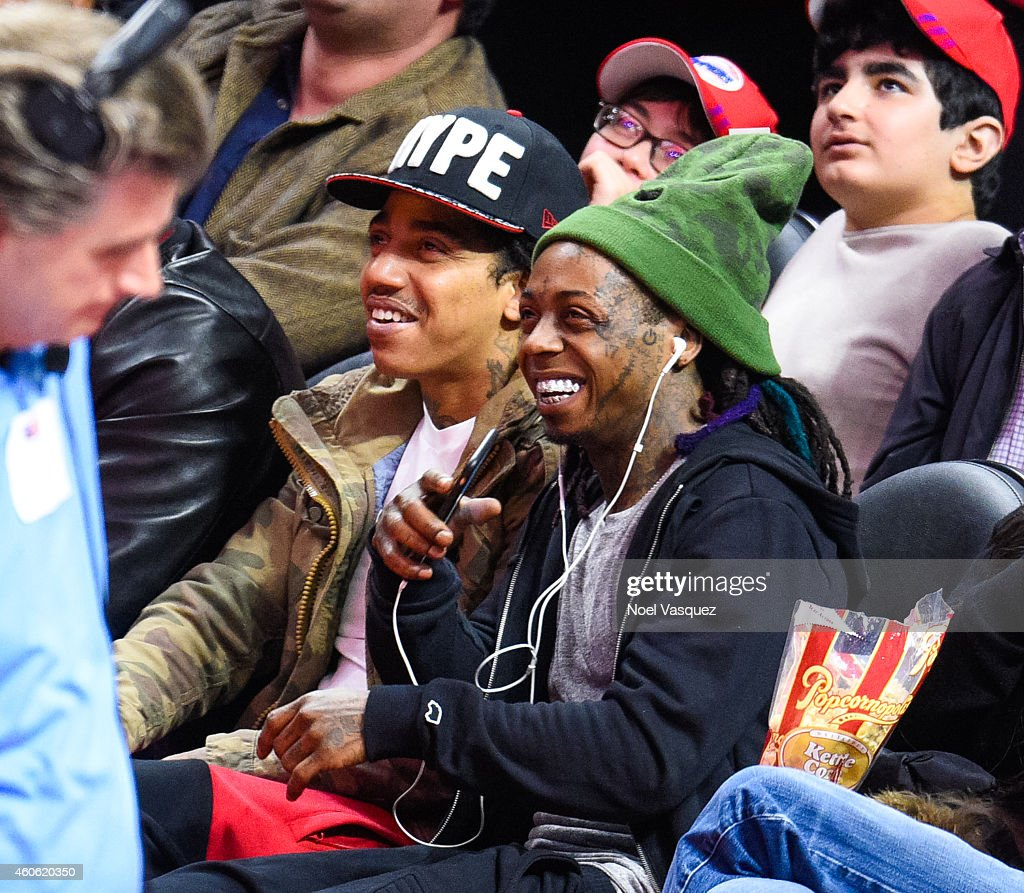Lil Wayne attends a basketball game between the Indiana Pacers and the Los Angeles Clippers at Staples Center on December 17 2014 in Los Angeles...