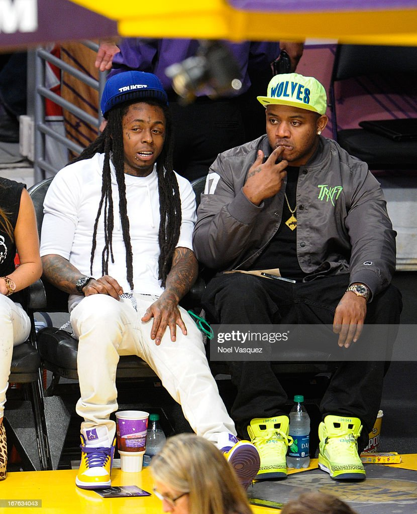 Lil Wayne attends an NBA playoff game between the San Antonio Spurs and the Los Angeles Lakers at Staples Center on April 26, 2013 in Los Angeles, California.