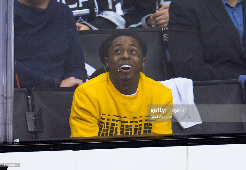 Lil Wayne attends an NHL playoff game between the Chicago Blackhawks and the Los Angeles Kings at Staples Center on June 6, 2013 in Los Angeles, California.