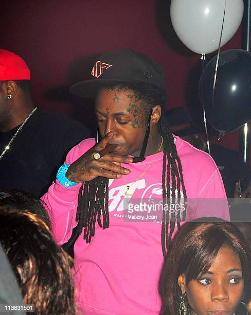 Lil Wayne attends Chris Brown's 22nd birthday party at Club Play on May 6 2011 in Miami Beach Florida
