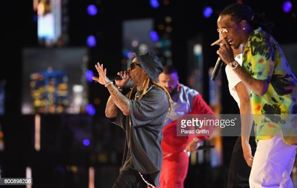 Lil Wayne DJ Khaled Chance The Rapper and Quavo perform onstage at 2017 BET Awards at Microsoft Theater on June 25 2017 in Los Angeles California