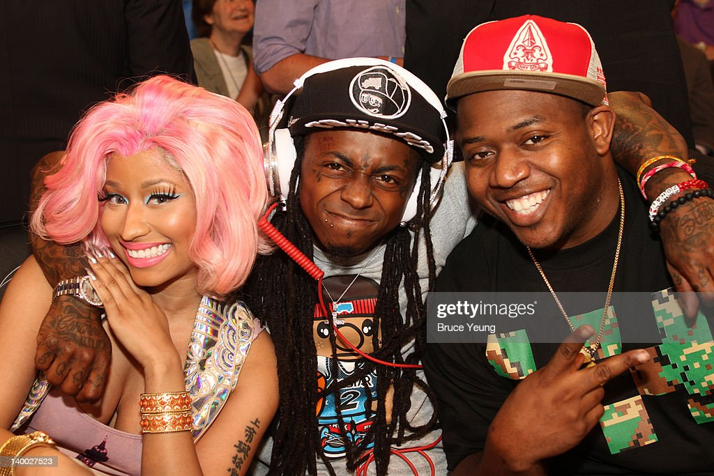 Lil Wayne, Nicky Minaj and Mack Maine pose for a photo during the 2012 NBA All-Star Game presented by Kia Motors as part of 2012 All-Star Weekend at the Amway Center on February 26, 2012 in Orlando, Florida.
