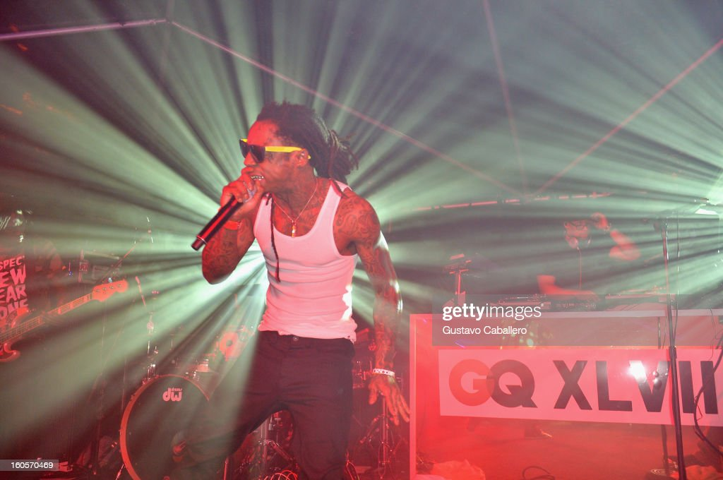 Lil Wayne performs at the GQ Super Bowl party sponsored by Lacoste and Mercedes-Benzat The Elms Mansion on February 2, 2013 in New Orleans, Louisiana.