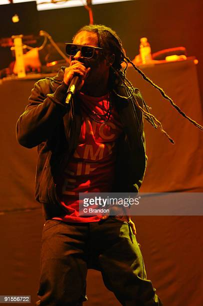 Lil Wayne performs on stage at Hammersmith Apollo on October 7 2009 in London England