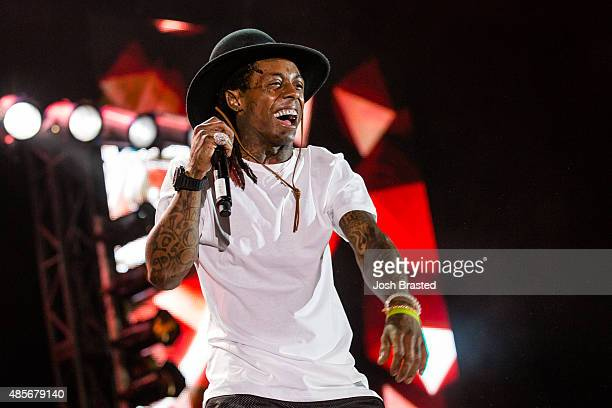 Lil Wayne performs on stage at Lil WeezyAna Fest at Champions Square on August 28 2015 in New Orleans Louisiana