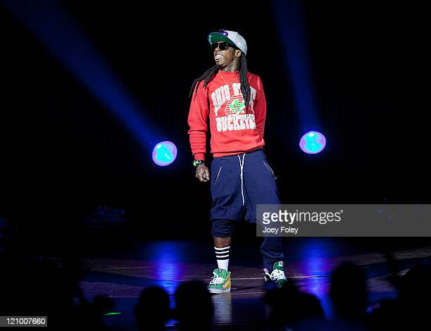 Lil Wayne performs onstage at the Riverbend Music Center on August 12 2011 in Cincinnati Ohio