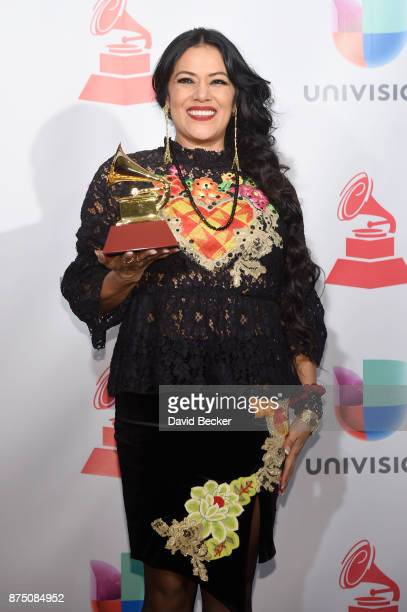Lila Downs poses in the press room during The 18th Annual Latin Grammy Awards at MGM Grand Garden Arena on November 16 2017 in Las Vegas Nevada