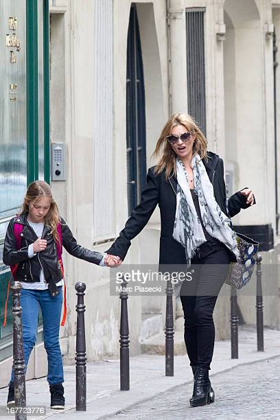 Lila Grace Moss and Kate Moss are sighted on April 28 2013 in Paris France
