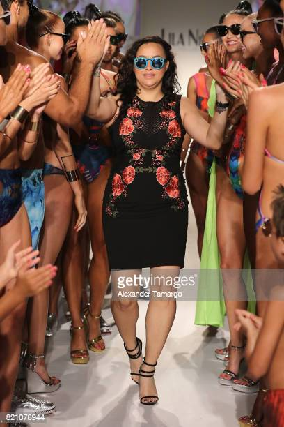Lila Nikole walks the runway at the SWIMMIAMI Lila Nikole 2018 Collection fashion show at the SWIMMIAMI tent on July 22 2017 in Miami Beach Florida