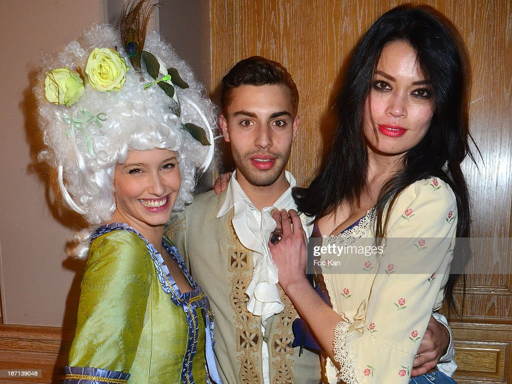 Lila Salet, Marwan Berreni and Caroline Le Quang attend the 'Bal Des Princesses 2013' At the Pavillon Royal on April 20, 2013 in Paris, France.