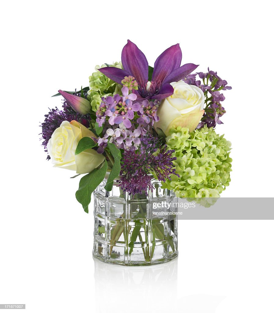 Lilac rose hydrangea and clematis bouquet on white