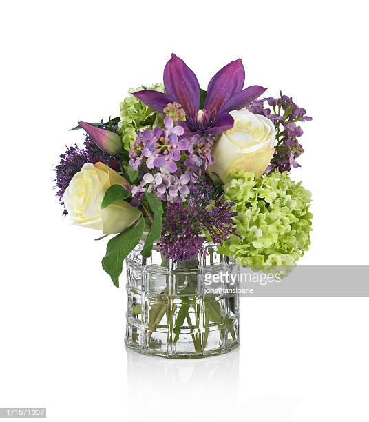 Lilac, Rose, Hydrangea and Clematis bouquet on white background