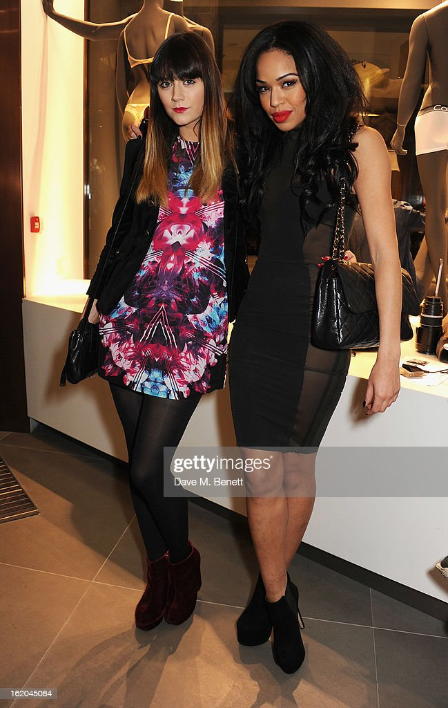 Lilah Parsons and Sarah Jane Crawford attend the Calvin Klein Jeans launch party at their Regent Street store on February 18, 2013 in London, England.