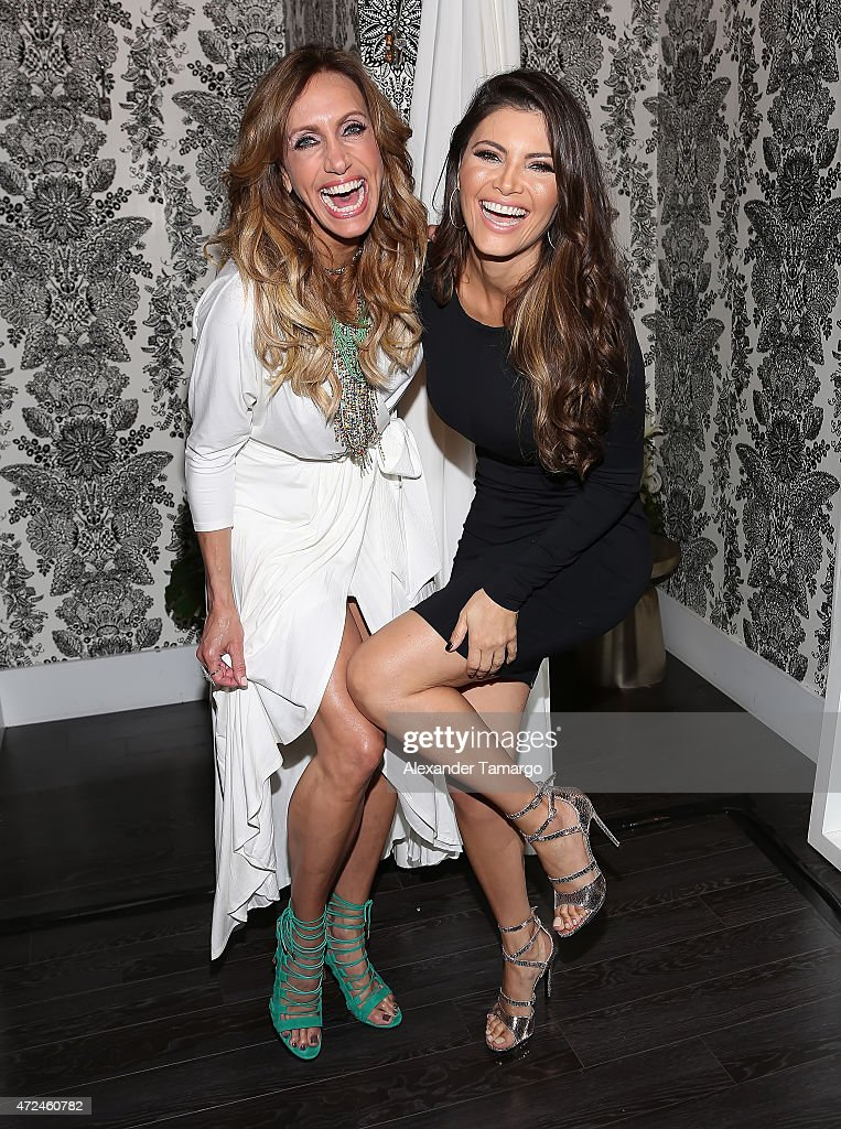 Lili Estefan and Chiquinquira Delgado pose at Studio LX during the clothing launch of Chiquinquira Delgado in collaboration with David Lerner on May...