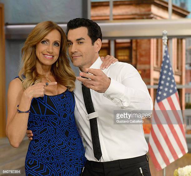 Lili Estefan and David Zepeda are seen on the set of 'El Gordo y La Flaca' at Univision Studios on June 16 2016 in Miami Florida
