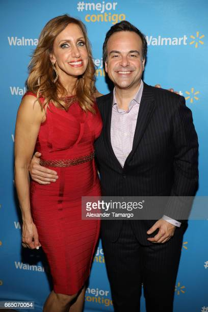 Lili Estefan and Jorge Plasencia are seen during Walmart's 'Mejor Contigo' event at COYA restaurant on April 5 2017 in Miami Florida