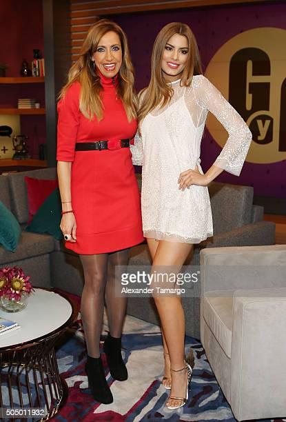 Lili Estefan and Miss Colombia Ariadna Gutierrez are seen on the set of 'El Gordo y La Flaca' at Univision Studios on January 14 2016 in Miami Florida