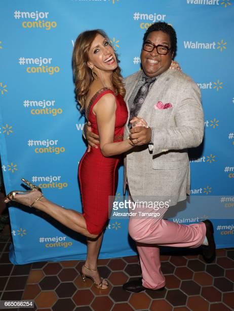 Lili Estefan and Tony Waller are seen during Walmart's 'Mejor Contigo' event at COYA restaurant on April 5 2017 in Miami Florida