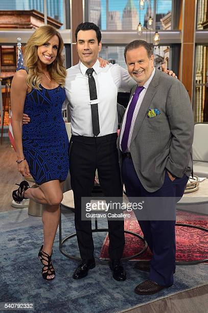 Lili Estefan David Zepeda and Raul de Molina are seen on the set of 'El Gordo y La Flaca' at Univision Studios on June 16 2016 in Miami Florida