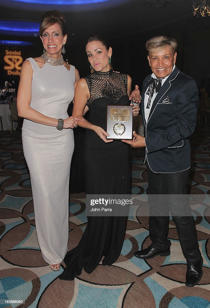 <a gi-track='captionPersonalityLinkClicked' href=/galleries/search?phrase=Lili+Estefan&family=editorial&specificpeople=751373 ng-click='$event.stopPropagation()'>Lili Estefan</a>, Gloria Ordaz and Oscar Romero attend the 2013 Latin Social TV Awards at Fontainebleau Miami Beach on February 28, 2013 in Miami Beach, Florida.