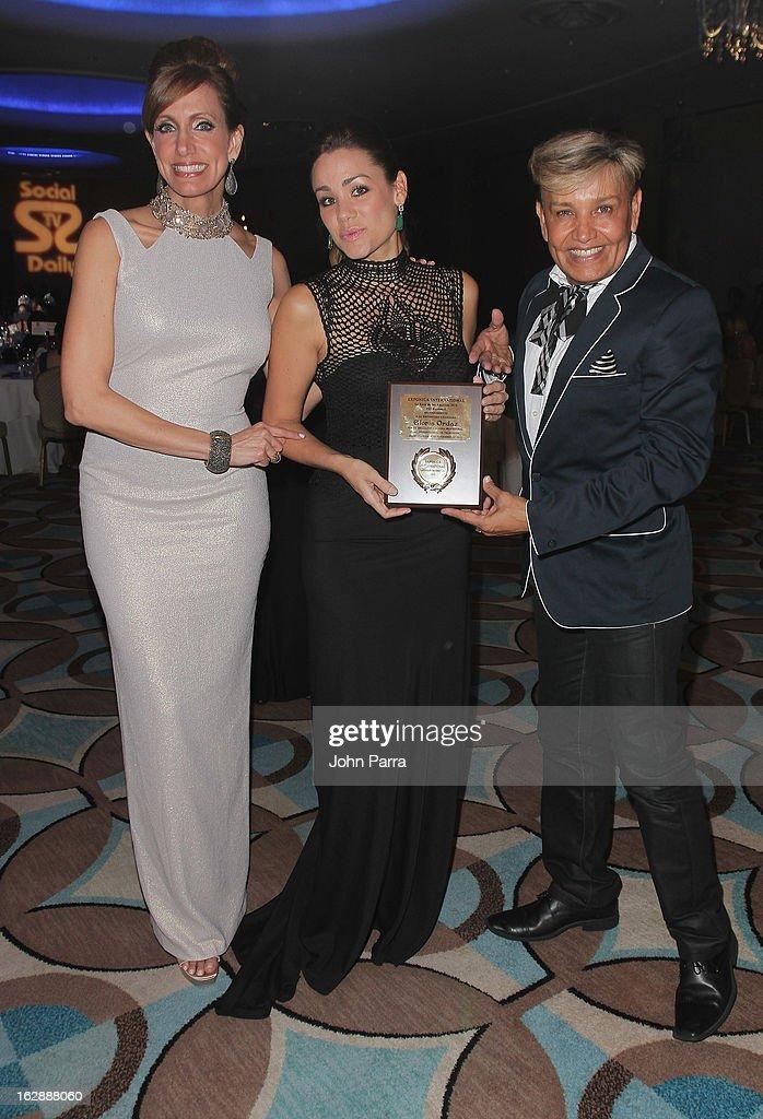 Lili Estefan, Gloria Ordaz and Oscar Romero attend the 2013 Latin Social TV Awards at Fontainebleau Miami Beach on February 28, 2013 in Miami Beach, Florida.