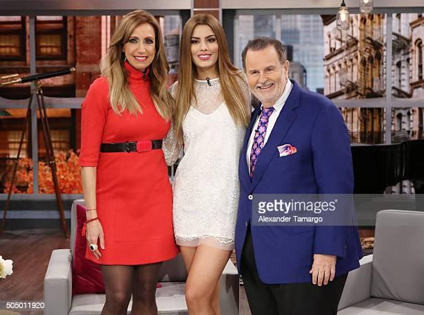 Lili Estefan Miss Colombia Ariadna Gutierrez and Raul de Molina are seen on the set of 'El Gordo y La Flaca' at Univision Studios on January 14 2016...