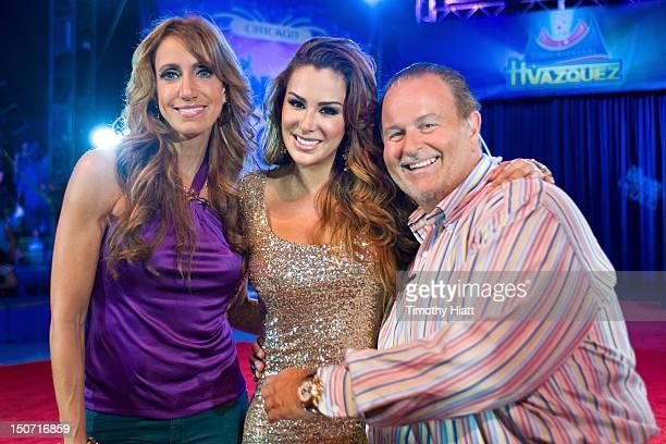 Lili Estefan Ninel Conde and Raul de Molina visit 'El Gordo y Flaca' at Circo Hermanos Vazquez on August 24 2012 in New York New York