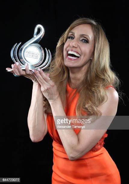 Lili Estefan poses at Univision's 29th Edition of Premio Lo Nuestro A La Musica Latina at the American Airlines Arena on February 23 2017 in Miami...