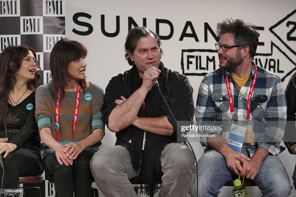 Lili Haydn, Freida Lee Mock, Marco D'Ambrosio and Jacob Kornbluth attend the BMI Roundtable at Sundance House on January 23, 2013 in Park City, Utah.