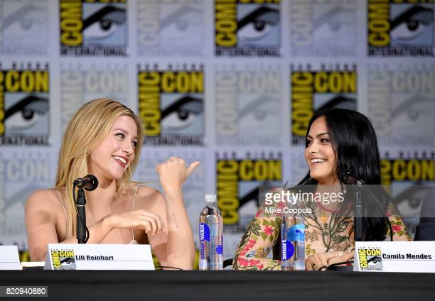 Lili Reinhart and Camila Mendes attend 'Riverdale' special video presentation and QA during ComicCon International 2017 at San Diego Convention...