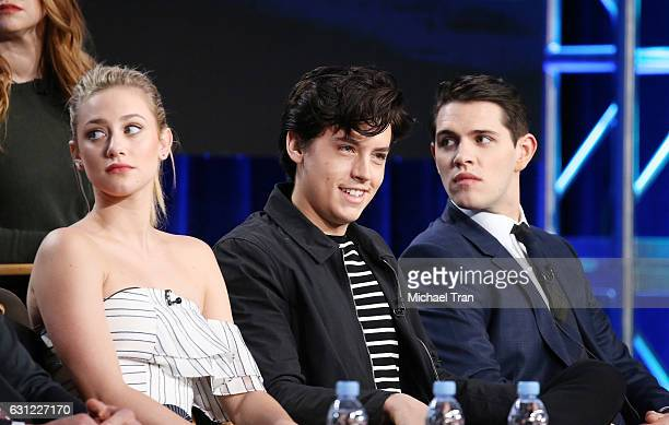 Lili Reinhart Cole Sprouse and Casey Cott for the 'Riverdale' television show speak onstage during the 2017 Winter TCA Tour Panels CW held at The...