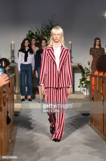 Lili Sumner walks during the ALEXACHUNG London Launch and Collection Reveal on May 30 2017 in London England