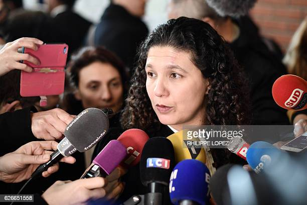 Lilia Mhissen lawyer of eleven defendants speaks to press after three former Air France employees on trial for ripping company executives' shirts...