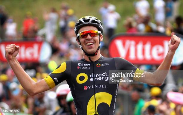 Lilian Calmejane of France and team Direct Energie celebrates victory during stage eight of the 2017 Le Tour de France a 1875km road stage from Dole...