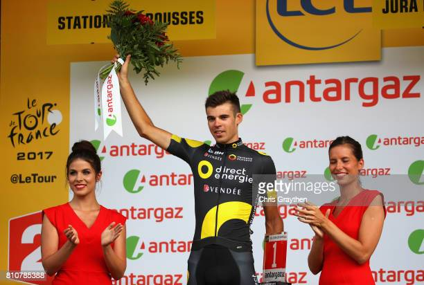 Lilian Calmejane of France and team Direct Energie celebrates winning stage eight of the 2017 Le Tour de France a 1875km road stage from Dole to...