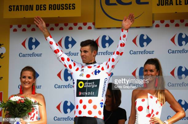 Lilian Calmejane of France and Team Direct Energie celebrates winning the PolkaDot Jersey during stage eight of the 2017 Le Tour de France a 1875km...