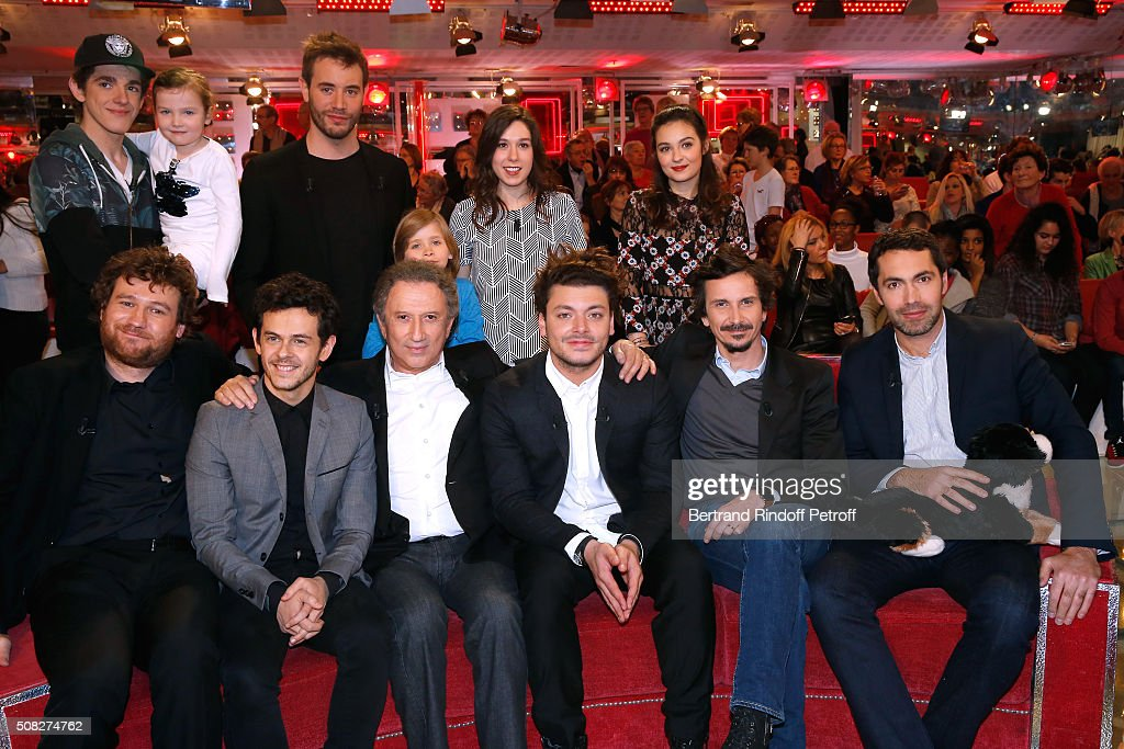 Lilian Dugois, Myrtille Gougat, Yaniss Lespert, Timothee Kempen-Hamel, Canelle Carre-Cassaigne, Tiphaine Haas (Front L-R) Olivier de Benoist, Michael Gregorio, <a gi-track='captionPersonalityLinkClicked' href=/galleries/search?phrase=Michel+Drucker&family=editorial&specificpeople=769504 ng-click='$event.stopPropagation()'>Michel Drucker</a>, Youngest (24 years old) Main Guest of the Show, <a gi-track='captionPersonalityLinkClicked' href=/galleries/search?phrase=Kev+Adams&family=editorial&specificpeople=8192242 ng-click='$event.stopPropagation()'>Kev Adams</a>, Arnaud Tsamere and Ben attend the 'Vivement Dimanche' French TV Show at Pavillon Gabriel on February 3, 2016 in Paris, France.