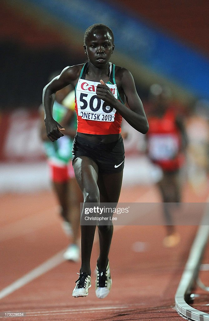 Lilian Kasait Rengeruk of Kenya in action as she wins Gold in the Girls 3000m Final during Day 1 of the IAAF World Youth Championships at the RSC Olimpiyskiy Stadium on July 10, 2013 in Donetsk, Ukraine.