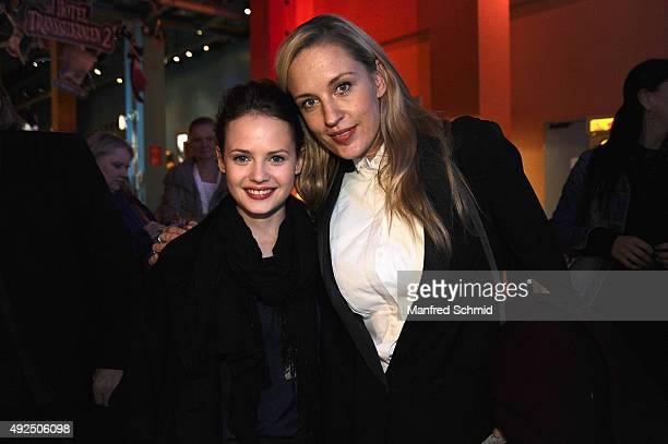 Lilian Klebow and Jana Naomi McKinnon pose during the 'Beautiful Girl' Vienna premiere at UCI Kinowelt Millenium City on October 13 2015 in Vienna...