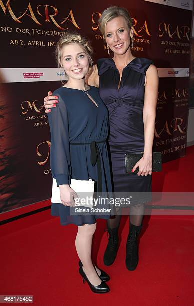 Lilian Lilly Prent and Eva Habermann during the Munich premiere of the film 'Mara und der Feuerbringer' at Arri Kino on March 30 2015 in Munich...