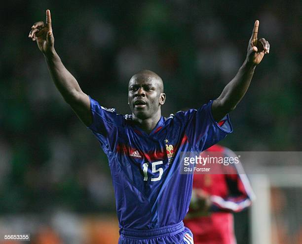Lilian Thuram of France celebrates following the FIFA World Cup 2006 Qualifying Match between Ireland and France at Lansdowne Road on September 7...